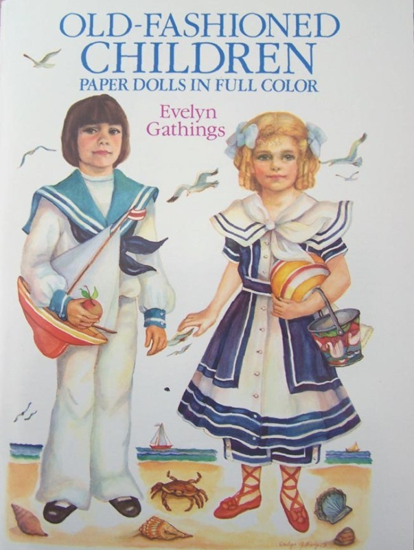 OLD-FASHIONED CHILDREN PAPER DOLLS 2 Dolls & 24 Costume