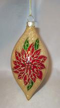 Poinsettia Flowers Christmas Tree Ornament Glass Glittery Teardrop Holid... - $12.86
