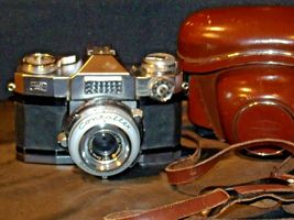 Zeiss Ikon Contaflex Super Camera with hard leather Case AA-192013 Vintage image 4