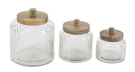 """Deco 79 94979 Farmhouse Glass Canister Set, 7"""" W x 8"""" H, Clear, Brown - $72.05"""