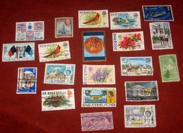 Lot Assorted 20 Genuine Postal Stamps Bermuda Island Used Postage FREE SHIP - $11.59