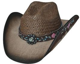 Bullhide Enchanted Linen And Toyo Cowgirl Hat Rose Concho Fancy Underbrim Pecan - $73.00
