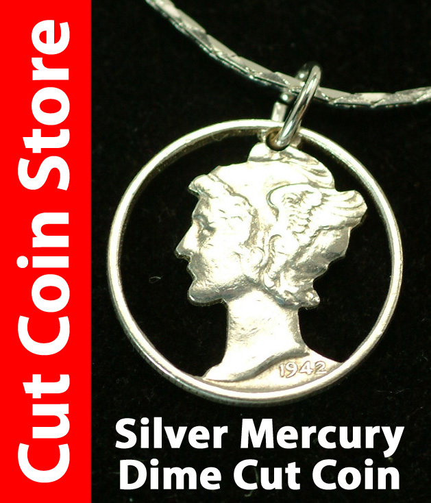Mercury Liberty USA Cut Coin Silver Dime Pendant Necklace Jewelry by Colin