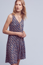 Anthropologie Westwater Knit Dress L Blue Chevron V-neck Sleeveless Flou... - $49.99