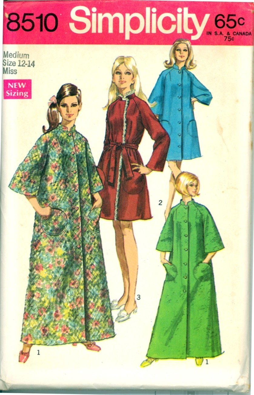Primary image for 1960s Size M Bust 34 36 Raglan Sleeve Circle Pocket Robe Simplicity 8510 Pattern