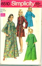 1960s Size M Bust 34 36 Raglan Sleeve Circle Pocket Robe Simplicity 8510 Pattern - $6.99