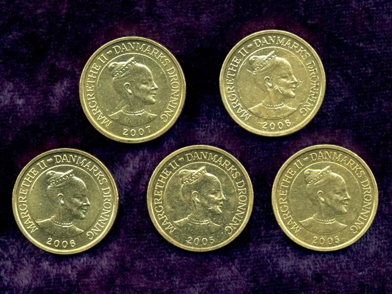 5 Danish 10-kr. Coins, Royal Danish Mint, Hans Christian Andersen's FairyTales