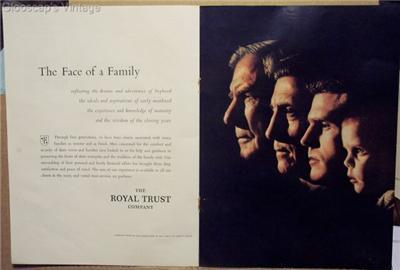 1962 Ad Royal Trust Company Four Generations Portrait