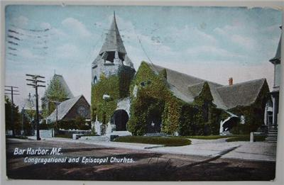 1911 PC Congregational Episcopal Churches Bar Harbor ME