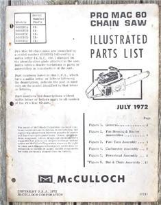 1972 McCulloch PRO MAC 60 Chain Saw Illus. Parts List