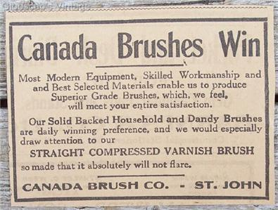 1917 Canada Brushes Win Dandy Varnish Saint John NB Ad