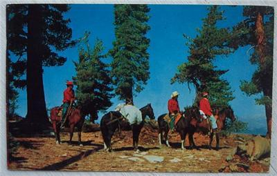 1950's Post Card Horse Back Riders Out West