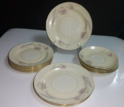 14 Pc Homer Laughlin Eggshell Nautilus TULIP- 5 Saucers, 6 B&B, 3 Salad ... - $12.86