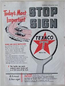 1954 Texaco Stn Stop Sign Canadian McColl-Frontenac Ad