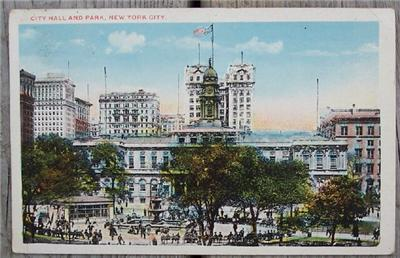 1910's-20's PC City Hall & Park, New York City