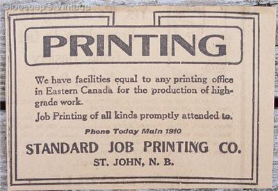 1917 Standard Job Printing Co. Saint John NB Ad