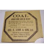 "1921 Coal ""Order Now"" Ad Geo E Boak & Son Ltd Halifax - $3.95"