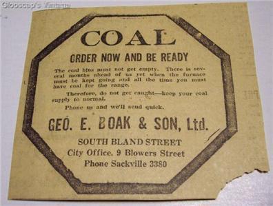 "1921 Coal ""Order Now"" Ad Geo E Boak & Son Ltd Halifax"