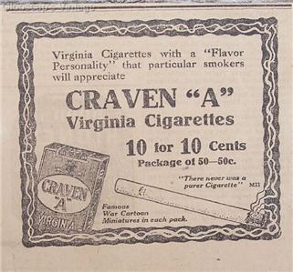 """1917 Craven """"A"""" Virginia Cigarettes Flavor 10 cents Ad"""