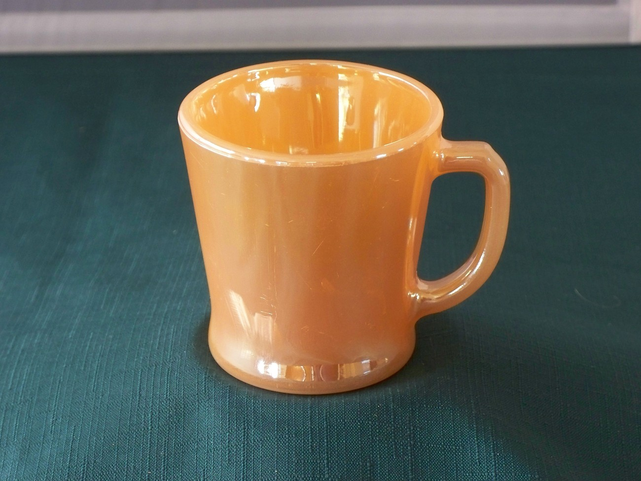 Fire King D Handle Peach Lustre Coffee Mug Good Condition