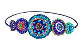 Hand-beaded Crystal Rhinestones Headband Headdress, Colored Beads