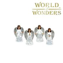 "4pc Mini Angel Figurines Statues Faith Messages Christian Home Decor 5"" Set - $39.55"