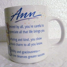 Ann Name Paraglazed Collectible Ceramic Mug by Only You Ganz - $12.99