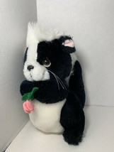 Russ Berrie Salina small stuffed plush black white skunk holding pink fl... - $9.89