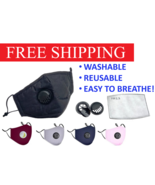 Adult Face Mask With Breathable Vent Valve and Filters Washable and Reuseable - $6.92 - $19.79
