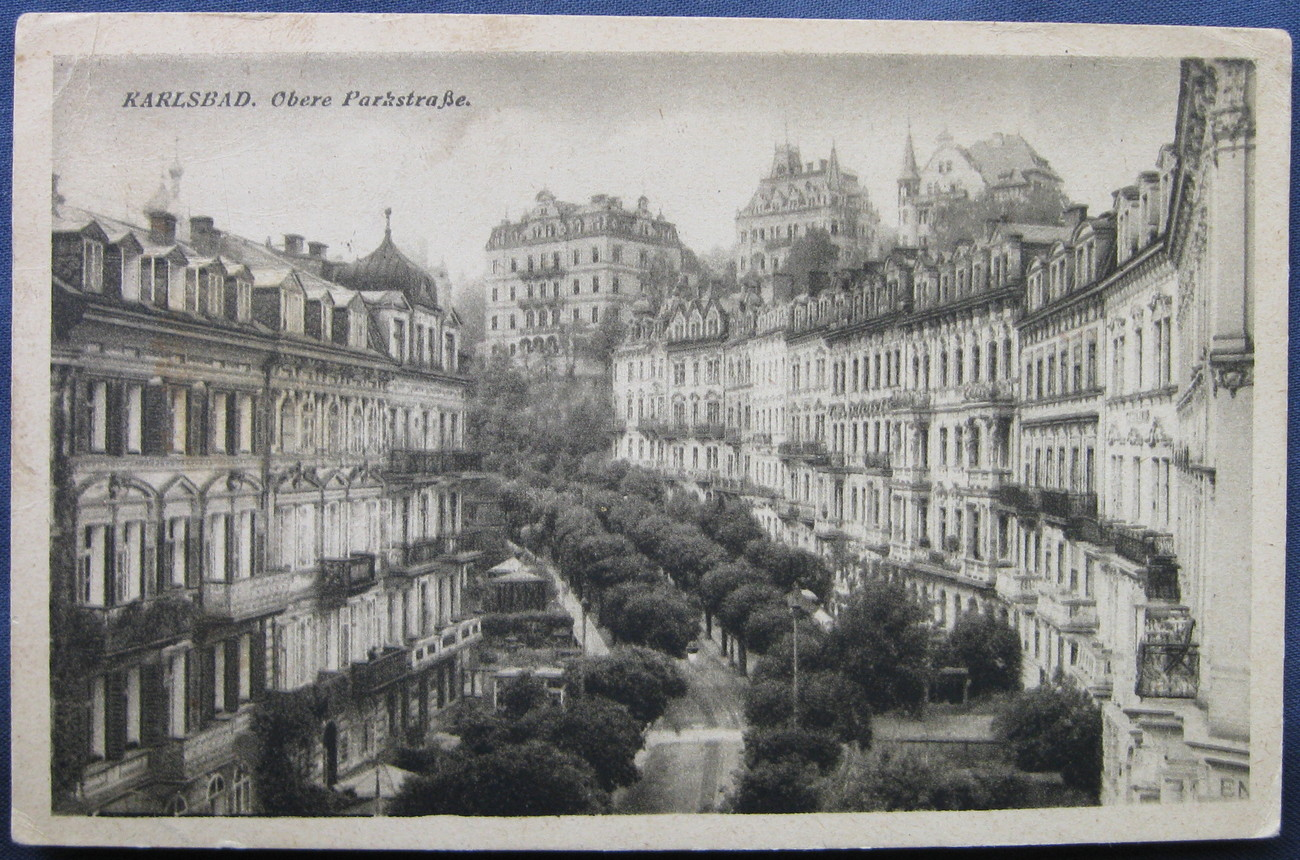 L.W.K., White Border, Black and White Postcard, Karlsbad ove