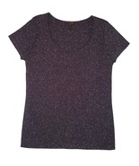 Escada sz 42 Short Sleeve Sweater Knit Top Ribbed STretch Purple Gold Sh... - $24.29