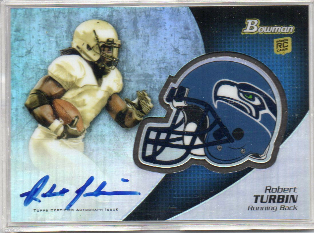 Robert Turbin RC 2012 Bowman Helmet Rookie Autograph Auto GEM10?-Seahawks RB RC
