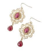 Gorgeous Pink Jeweled Golden Metal Dangle Earrings - $10.00