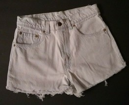 Vtg LEVIS USA jean shorts 550 cut off FADED high waist 30 mom grunge ble... - $66.28