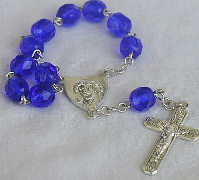 Primary image for Mini Rosary with blue glass beads