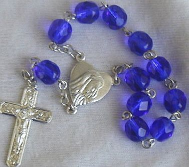 Mini Rosary with blue glass beads