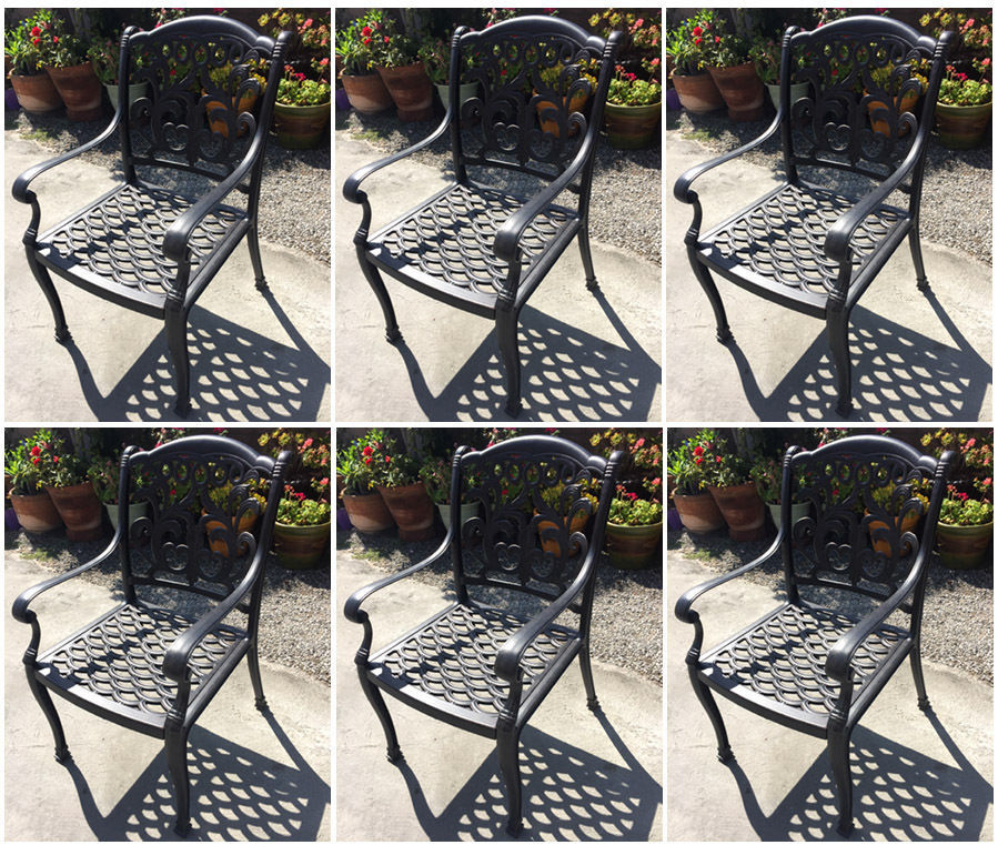 Outdoor dining chairs set of 6 cast aluminum patio furniture rust free