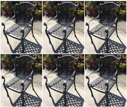 Outdoor dining chairs set of 6 cast aluminum patio furniture rust free image 1
