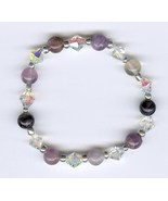 Handmade Handcrafted Beaded Bracelet Jewelry Purple Clear AB Glass Beads - $5.00