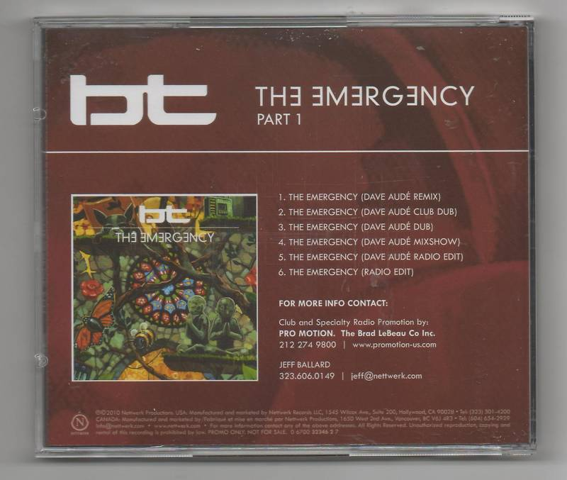 BT Emergency Remixes Part.1 Promo CD Dave Aude 6 Track