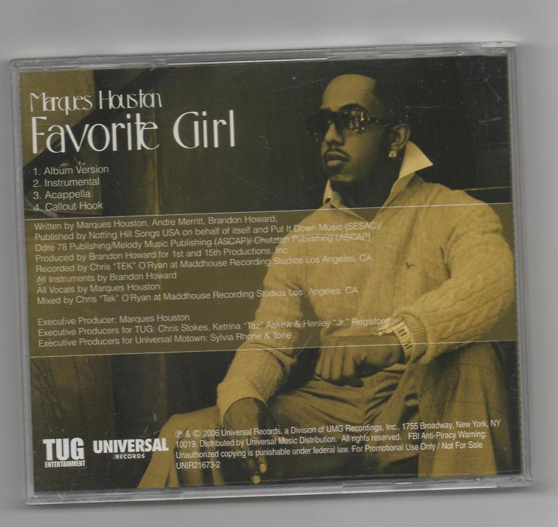Marques Houston Favorite Girl 3 Track CD Promo
