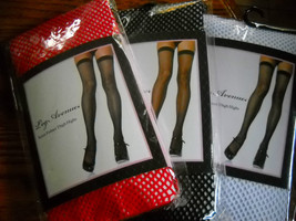 Leg Ave fishnet thigh-hi 3 pairs lot Red White Black womans  - $15.00
