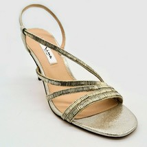 Nina New York Womens Sparkle Strappy Slingback Heels Sz 5.5M Silver Leather NEW - $29.69