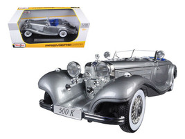 1936 Mercedes 500K Special Roadster Grey 1/18 Diecast Model Car by Maisto - $59.95