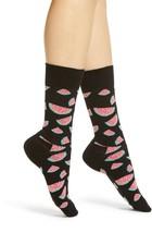 WATERMELON Womens Crew Socks Combed Cotton Size 9-11 HAPPY SOCKS $12 - NWT - $9.49