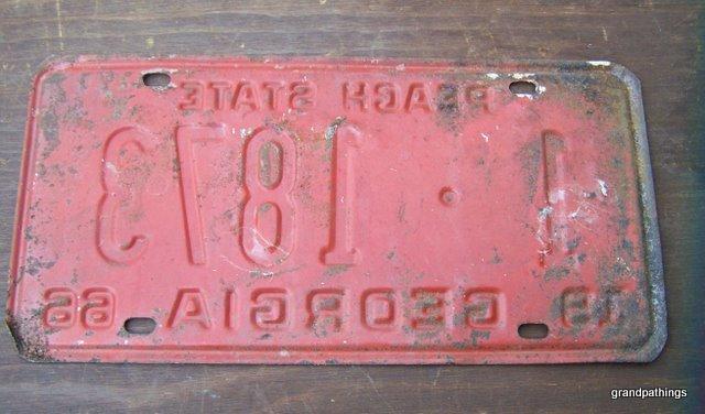 Vintage 1966 Georgia License Plate Peach State ATLANTA # 1-1873