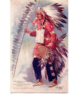 Crested with Eagle Feathers Tuck Song of Hiawatha Post Card  - $15.00
