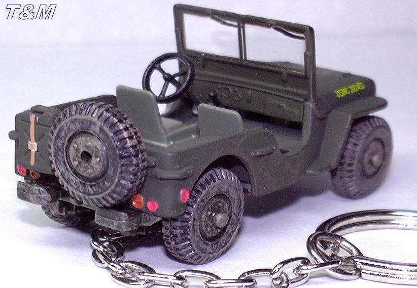KEY CHAIN USMC JEEP WILLYS GPW 4x4 WW2 VIETNAM WW RING