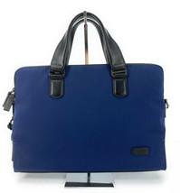 Tumi Harrison Seneca Business Laptop Briefcase Marine Blue Black Leather... - $296.99