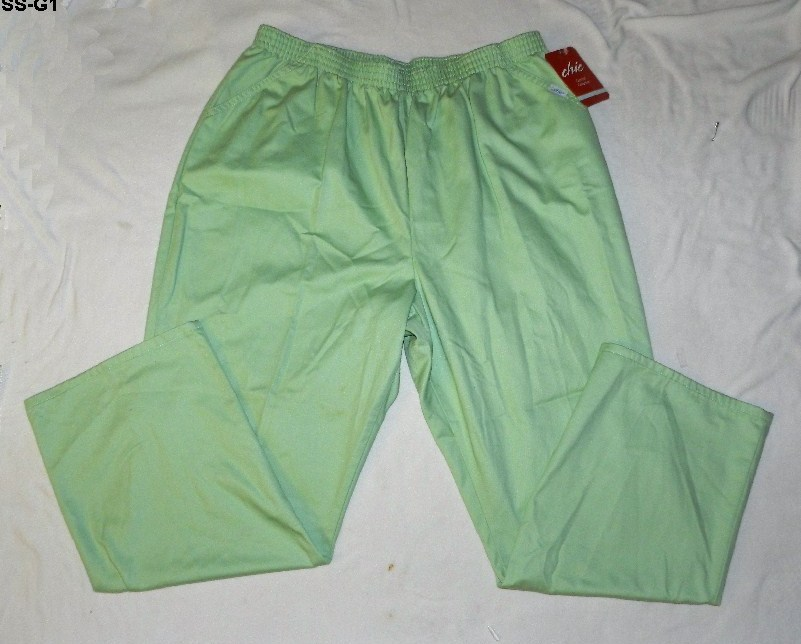 CHIC Womens Plus Size 26w Lime Green Cotton Pants NWT